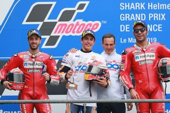 Podium: race winner Marc Marquez, Repsol Honda Team, second place Andrea Dovizioso, Ducati Team, third place Danilo Petrucci, Ducati Team