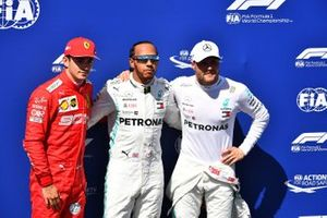 Top three Qualifiers Charles Leclerc, Ferrari, pole man Lewis Hamilton, Mercedes AMG F1, and Valtteri Bottas, Mercedes AMG F1