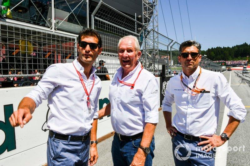 Mark Webber, Helmut Markko, Consultor, Red Bull Racing, y Patrick Dempsey