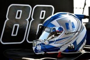 Helmet of Alex Bowman, Hendrick Motorsports, Chevrolet Camaro Nationwide Patriotic