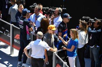 Lando Norris, McLaren and Lance Stroll, Racing Point speak to the media