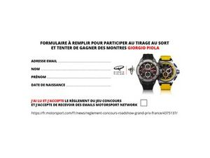 Jeu concours montre Giorgio Piola GP de France