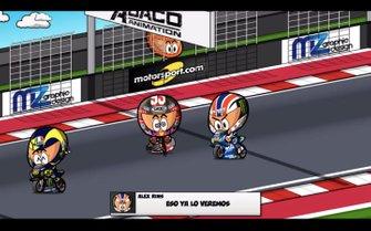 Valentino Rossi y Alex Rins pasan por delante de un caído Márquez