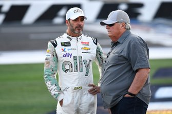 Jimmie Johnson, Hendrick Motorsports, Chevrolet Camaro Ally Patriotic and Rick Hendrick
