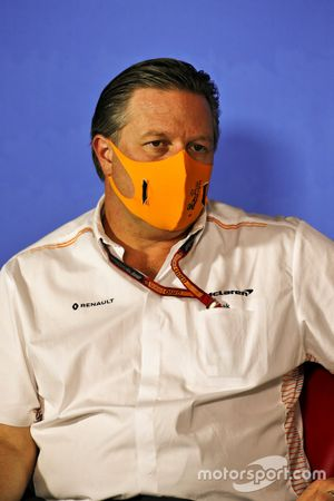 Zak Brown, Executive Director, McLaren durante la conferenza stampa