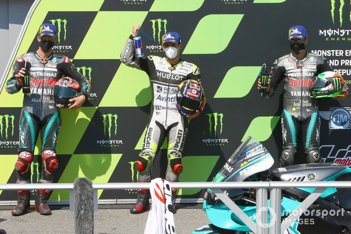 Polesitter Johann Zarco, Avintia Racing, secondo classificato Fabio Quartararo, Petronas Yamaha SRT, terzo classificato Franco Morbidelli, Petronas Yamaha SRT