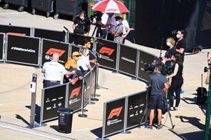 Lando Norris, McLaren and Carlos Sainz Jr., McLaren speak to the media