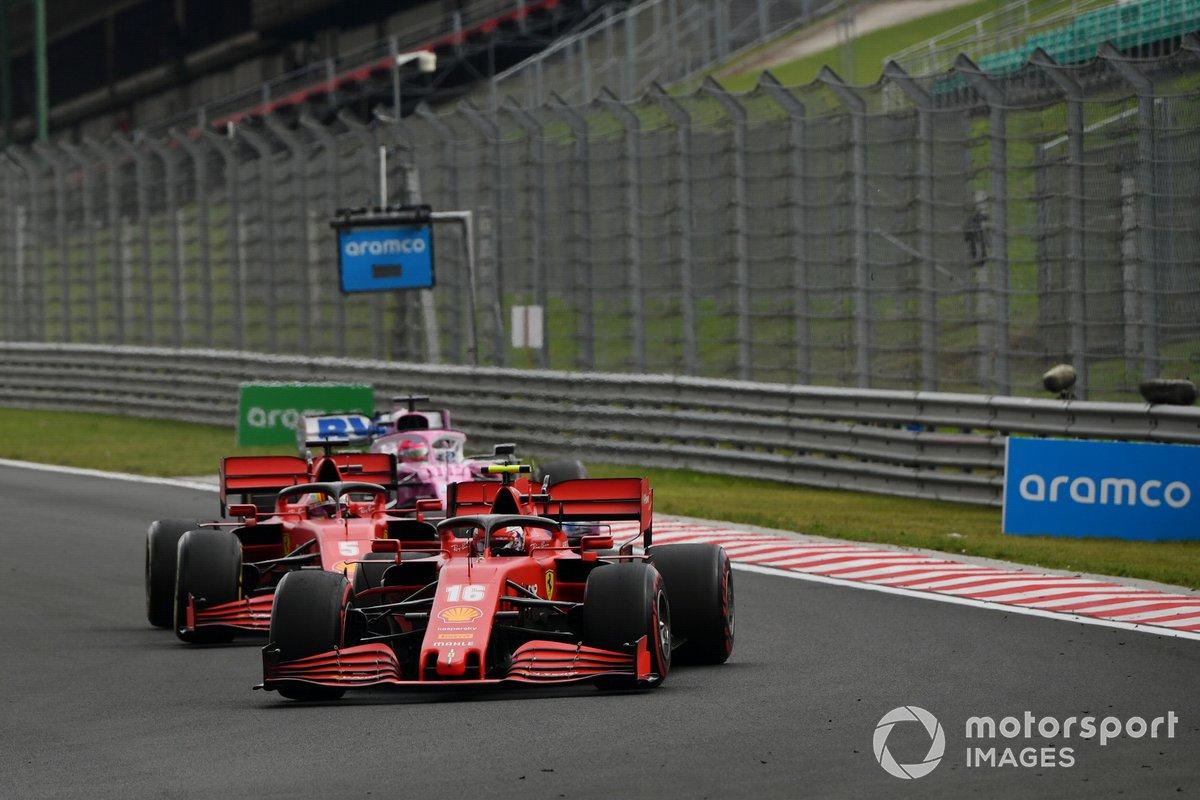 Charles Leclerc, Ferrari SF1000, precede Sebastian Vettel, Ferrari SF1000, e Sergio Perez, Racing Point RP20