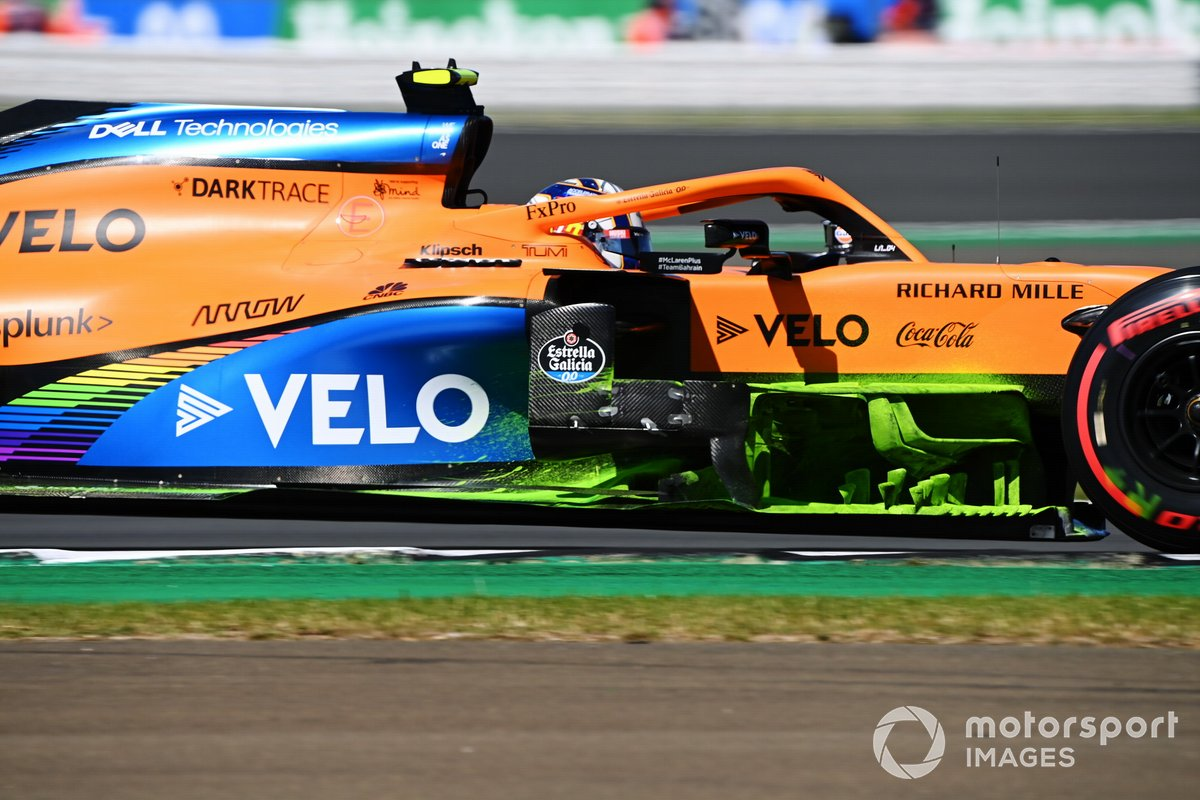 McLaren MCL35 with flow viz paint applied