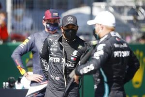 Max Verstappen, Red Bull Racing, Lewis Hamilton, Mercedes-AMG Petronas F1, and Valtteri Bottas, Mercedes F1 W11 EQ Performance, after qualifying