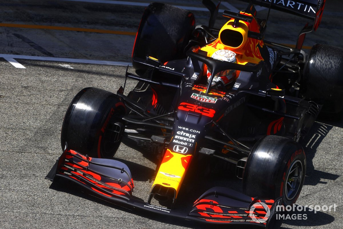 Max Verstappen, Red Bull Racing RB16, leaves the garage