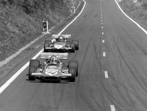 Chris Amon, March 701 leads Jackie Stewart, March 701