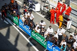 The Mercedes team gathers for the podium celebrations