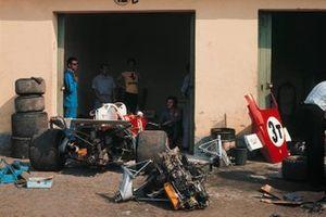 La zona del garaje de Ferrari arrow