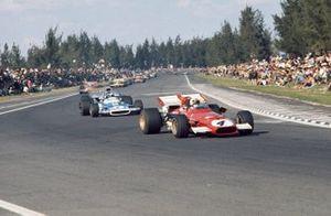 Clay Regazzoni, Ferrari 312B, 2nd, leads Jean-Pierre Beltoise, Matra MS120