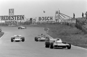 Graham Hill, Brabham BT34 Ford, Jackie Stewart, Tyrrell 003 Ford, Gijs van Lennep, Surtees TS7 Ford