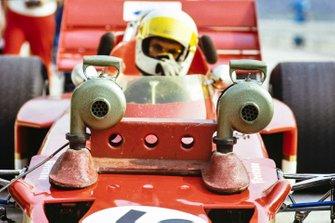 John Miles, Lotus 72C Ford showing detail of brake cooling fan arrangement