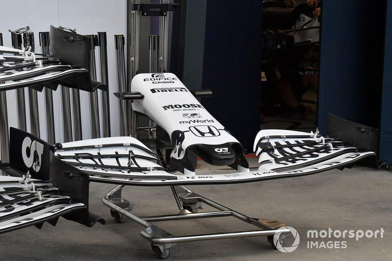 A spare AlphaTauri nose and front wing