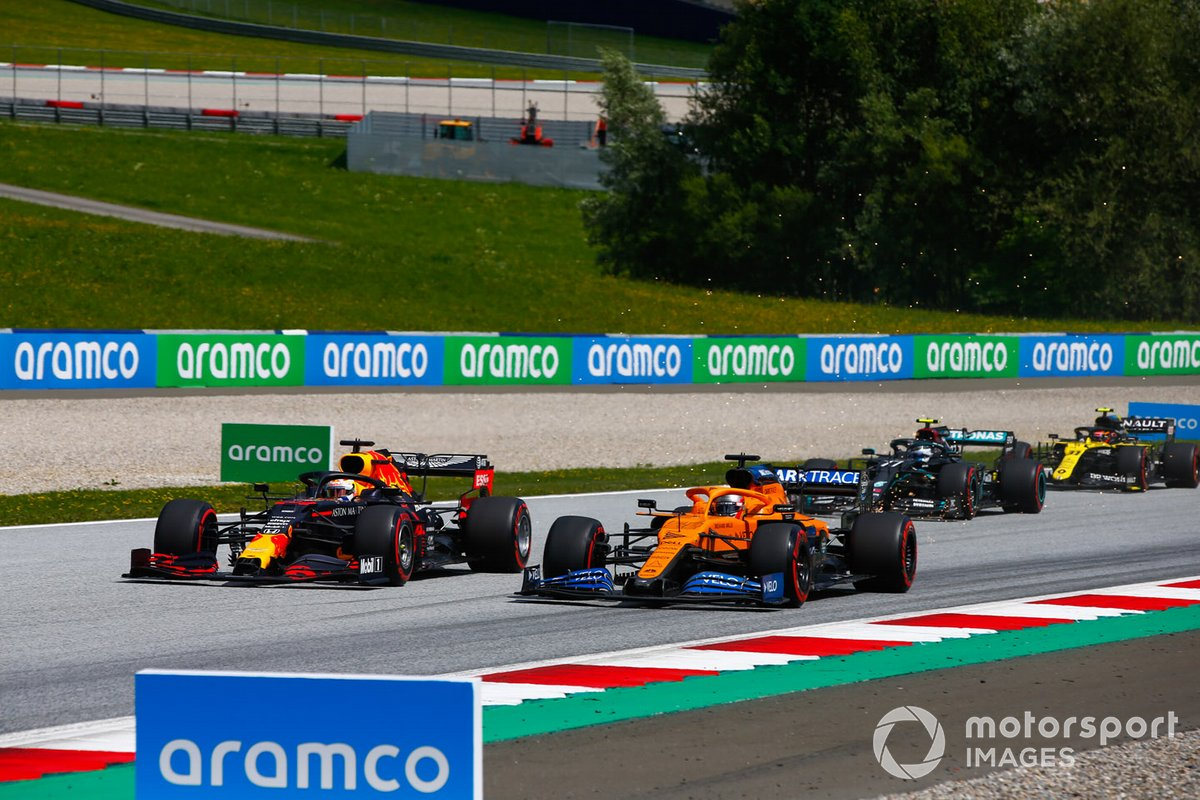 Max Verstappen, Red Bull Racing RB16, Carlos Sainz Jr., McLaren MCL35, Valtteri Bottas, Mercedes F1 W11 EQ Performance y Esteban Ocon, Renault F1 Team R.S.20