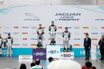 The PRO class podium: winner Bryan Sellers, Rahal Letterman Lanigan Racing, Katherine Legge, Rahal Letterman Lanigan Racing, 2nd position, Sérgio Jimenez, Jaguar Brazil Racing, 3rd position