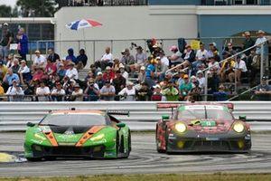 #11 GRT Grasser Racing Team Lamborghini Huracan GT3, GTD: Mirko Bortolotti, Rik Breukers, Rolf Ineichen, #9 PFAFF Motorsports Porsche 911 GT3 R, GTD: Scott Hargrove, Zacharie Robichon, Lars Kern