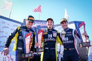 Podium: Winner #27 HubAuto Corsa Ferrari 488 GT3: Nick Foster, Tim Slade, Miguel Molina