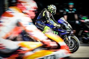 Valentino Rossi, Yamaha Factory Racing, let out in front of Marc Marquez, Repsol Honda Team