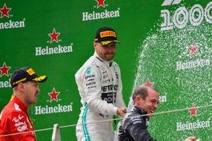 Valtteri Bottas, Mercedes AMG F1, 2nd position, sprays Champagne on the podium