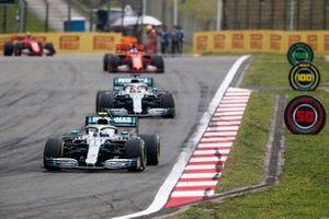 Valtteri Bottas, Mercedes AMG W10 devance Lewis Hamilton, Mercedes AMG F1 W10 et Sebastian Vettel, Ferrari SF90 lors du tour de formation