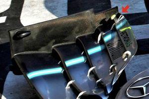 Valtteri Bottas, Mercedes AMG W10, detail van de voorvleugel