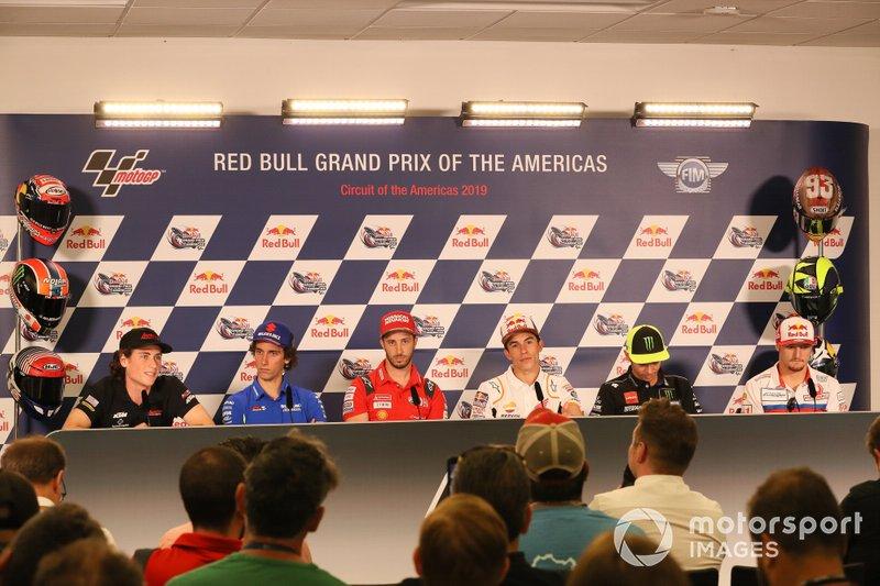 Roberts, Alex Rins, Team Suzuki MotoGP, Andrea Dovizioso, Ducati Team, Marc Marquez, Repsol Honda Team, Valentino Rossi, Yamaha Factory Racing, Jack Miller, Pramac Racing, Press Conference