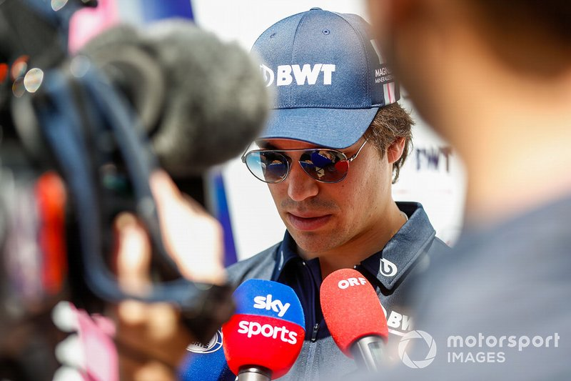 Lance Stroll, Racing Point, parla con la stampa