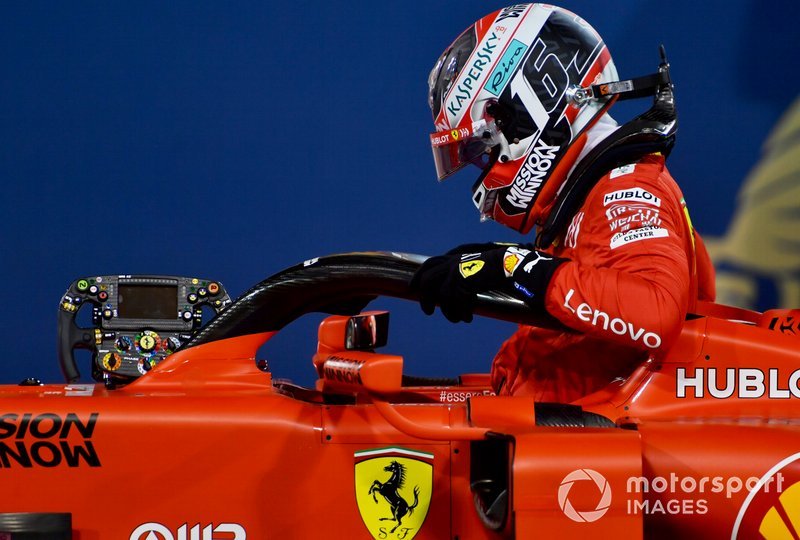 Charles Leclerc, Ferrari, climbs out of his cockpit after securing his first pole position in F1