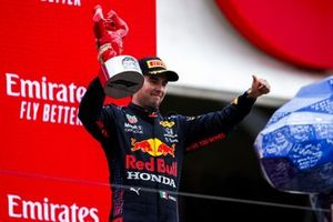 Sergio Perez, Red Bull Racing, 3rd position, with his trophy