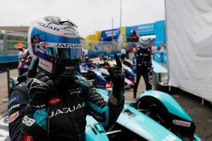 Sam Bird, Jaguar Racing, first position, celebrates on arrival in Parc Ferme