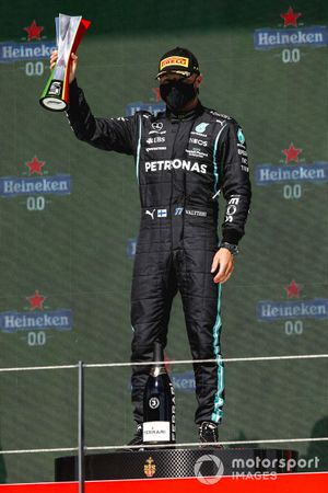Valtteri Bottas, Mercedes, 3rd position, with his trophy