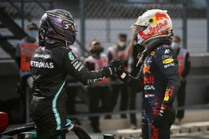 Max Verstappen, Red Bull Racing, 2nd position, congratulates Lewis Hamilton, Mercedes, 1st position, in Parc Ferme