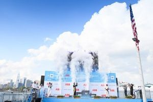 Maximilian Guenther, BMW I Andretti Motorsport, first position, Jean-Eric Vergne, DS Techeetah, second position, Lucas Di Grassi, Audi Sport ABT Schaeffler, third position, celebrate with CHampagne on the podium