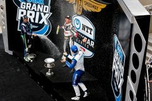 Rinus VeeKay, Ed Carpenter Racing Chevrolet celebrates winning the GMR Grand Prix, Romain Grosjean, Dale Coyne Racing with RWR Honda, Alex Palou, Chip Ganassi Racing Honda