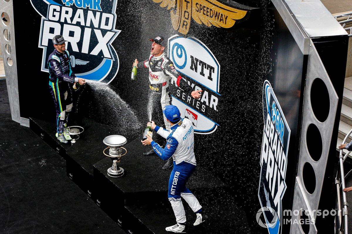 Ganador Rinus VeeKay, Ed Carpenter Racing Chevrolet, Romain Grosjean, Dale Coyne Racing with RWR Honda, Alex Palou, Chip Ganassi Racing Honda