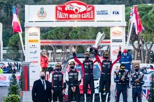 Podium: Winners Sébastien Ogier, Julien Ingrassia, Toyota Gazoo Racing WRT Toyota Yaris WRC, second place Elfyn Evans, Scott Martin, Toyota Gazoo Racing WRT Toyota Yaris WRC, third place Thierry Neuville, Martijn Wydaeghe, Hyundai Motorsport Hyundai i20 Coupe WRC and Prince Albert of Monaco