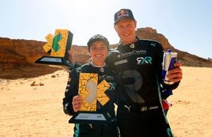 Molly Taylor, Johan Kristoffersson, Rosberg X Racing celebrate with trophy