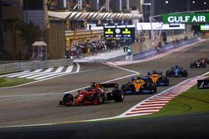 Charles Leclerc, Ferrari SF21, Lando Norris, McLaren MCL35M, Daniel Ricciardo, McLaren MCL35M, and Fernando Alonso, Alpine A521