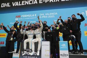Nyck de Vries, Mercedes-Benz EQ , 1st position, Stoffel Vandoorne, Mercedes-Benz EQ, 3rd position, the Mercedes Benz EQ team celebrate on the podium