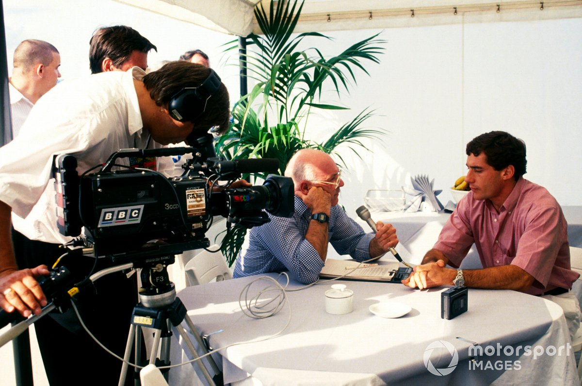 With omnipresent clipboard close-at-hand, Murray sits down with Ayrton Senna in 1992.