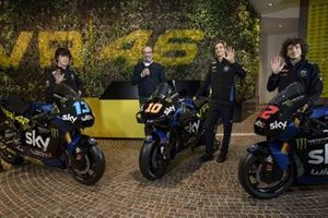 Luca Marini, Marco Bezzecchi and Celestino Vietti Ramus at Sky Racing Team VR46 MotoGP and Moto2 livery unveil