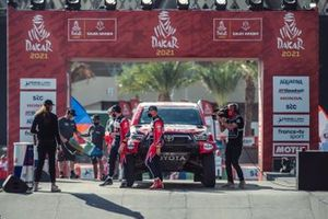 Toyota Gazoo Racing at the finish podium