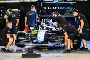 Williams Racing mechanics at work in the garage