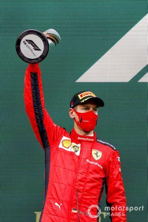 Sebastian Vettel, Ferrari, 3rd position, on the podium