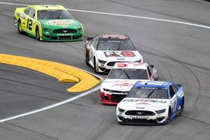 Chris Buescher, Roush Fenway Racing, Ford Mustang, Austin Dillon, Richard Childress Racing, Chevrolet Camaro, Michael McDowell, Front Row Motorsports, Ford Mustang Love's Travel Stops, and Ryan Blaney, Team Penske, Ford Mustang Menards/Libman